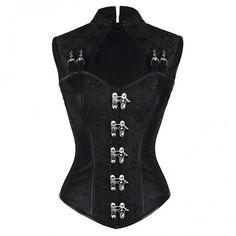 Black Steampunk Corset ❤ liked on Polyvore featuring tops, steampunk corset, steampunk tops, brocade corset, steam punk corset and spaghetti-strap top