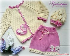 Baby Girl Crochet, Crochet Bebe, Crochet Baby Clothes, Crochet For Kids, Bebe Baby, Baby Cardigan, Girls Sweaters, Sweater Outfits, Baby Knitting