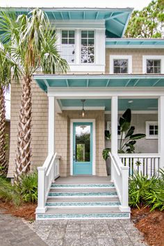 Aqua Accented Beach House ~ Houzz