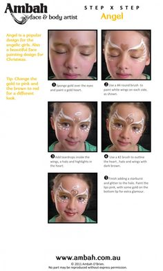 step by step Angel-1 face painting