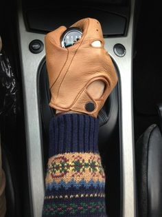 .driving gloves and a Fair isle sweater