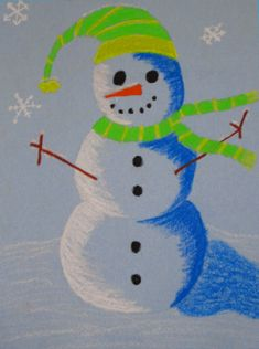 Runde's Room: Friday Art Feature - Is It Too Early For Snowmen? Christmas Art Projects, Winter Art Projects, School Art Projects, Winter Project, Art Lessons For Kids, Art Lessons Elementary, Art For Kids, 4th Grade Art, Fourth Grade