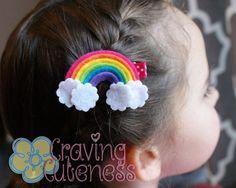 Rainbow Hair Clip Meet Miss Prism Pastel por CravingCuteness Felt Hair Accessories, Summer Accessories, First Birthday Hats, Bow Tutorial, Flower Tutorial, Rainbow Hair, Rainbow Headband, Diy Hair Bows, Felt Flowers