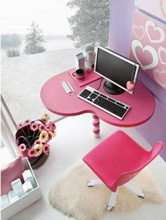 Girly Office Decor Ideas - The Fab Guide - A cute pink and lavender office space with a heart shaped desk just for the girly girl!