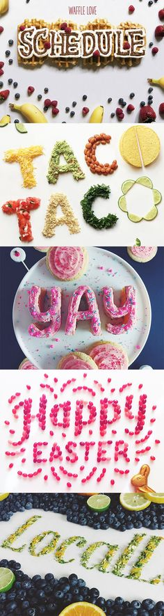 Typography has turned into an art form unto itself, and that means it can take some pretty creative shapes. Becca Clason, a lettering artist from Salt Lake City has taken it to the next level by creating typographic pieces of work with food as her medium.