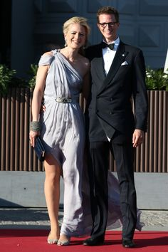Prince Manuel of Bavaria and Princess Anna of Bavaria arrive at a private dinner on the eve of the wedding of Princess Madeleine and Christopher O'Neill hosted by King Carl Gustaf and Queen Silvia at The Grand Hotel on June 7, 2013 in Stockholm, Sweden