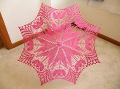 34 Pink Lace Crochet UMBRELLA PARASOLValentines Day by kolus79, $50.00
