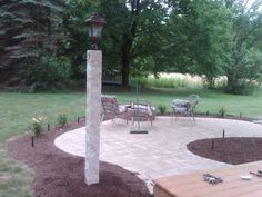 Paver walkway with a granite light post walkways walls and granite light post with patio mozeypictures Image collections