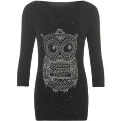Claudia Owl 3/4 Sleeve Jumper ($25) ❤ liked on Polyvore featuring tops, sweaters, black, black jumper, long black top, long sweaters, 3/4 sleeve tops and round neck sweater