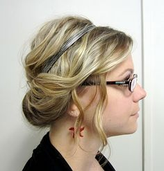 """No teasing or hairspray.  This gal (from """"Bye Bye Beehive"""") has so many awesome hair ideas.  Love this one as a transition for medium-length hair."""