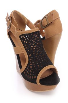 Doll up any outfit with these stylish wedges! They will look super hot paired with your favorite skinnies or dress. Make sure you add these to your closet, it definitely is a must have! The features for these wedges include suede, faux leather fabric, perforated design, cut out sides, peep toe, side buckle closure, stitched detailing, smooth lining, and cushioned footbed. Approximately 4 1/4 inch wedge heels and 1 inch platforms. Shoes Wedges Boots, Peep Toe Wedges, Wedge Boots, Womens Shoes Wedges, Wedge Sandals, Spring Shoes, Summer Shoes, Faux Leather Fabric, Prom Shoes