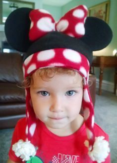 Minnie Mouse inspired fleece hat design size S for by SoSewMimi