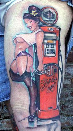 Pinup Girl at Gas Pump Tattoo #Tattoos #Pinup #PinupTattoo http://tattoopics.org/pinupgirl-gaspump/