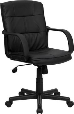 Delacora LeatherSoft Mid Back Adjustable Desk Chair Black Indoor Furniture Chairs Office