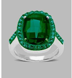 Fine Jewelry Green Crystal Ring in Sterling Silver on shopstyle.com