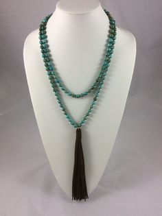Turquoise Double Wrap Tassel Necklace by OliviaandCate on Etsy