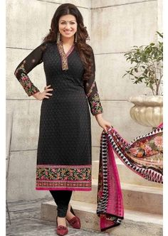 Black Sifly on Georgette Churidar Suit, -  £56.00, - #indianDress #shopklund #discount #shopnow