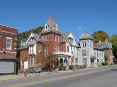 "Market Street Row by Joseph, Poughkeepsie, New York --""The house in the center is the oldest wood-frame building in Poughkeepsie. Its tower was added later to match the other buildings in the area. Great Lakes Region, Second Empire, Old Wood, Hudson Valley, Queen Anne, East Coast, The Row, Joseph, Buildings"