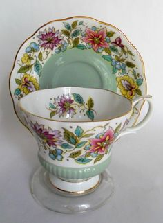 Vtg Royal Albert Jacobean English Bone China Porcelain Cup Saucer