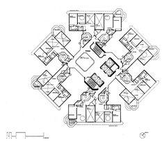 The Concourse, Scheme 1 Apartment Level Typical Plan, Singapore / Paul Rudolph / Apartment Floor Plans, 1st Apartment, Paul Rudolph, Detailed Drawings, Architecture Plan, Design Concepts, Hostel, Lady Gaga, Apartments