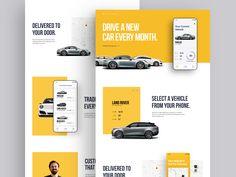 Eleanor Marketing Site car app ui ux teaser website landing page Website Design Layout, Web Layout, App Marketing, Mobile Marketing, Marketing Ideas, Car Websites, Car App, Desktop Design, Branding