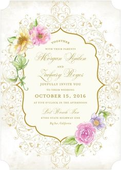 Elegant Enchantment - Signature White Textured Wedding Invitations in Heather or Reef | Lady Jae