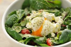 Make a breakfast salad! Crispy bacon and soft-boiled eggs make anything feel breakfasty, including a big bowl of spinach or kale. Add some sliced avocado and a handful of sunflower seeds, and you've got a veg-heavy breakfast that'll keep you full for hours.