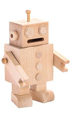 Carpenter Cute Wooden Robot Man Money Savings Jar Coin Piggy Bank Best Price