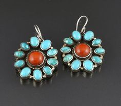 Turquoise Soul  . . .    Silver, Turquoise & Coral Earrings (Navajo)