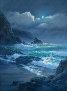 Seascape by Byron Pickering Fantasy Landscape, Landscape Art, Landscape Paintings, Landscape Design, Ocean Scenes, Beach Scenes, Ocean Art, Ocean Waves, Seascape Paintings