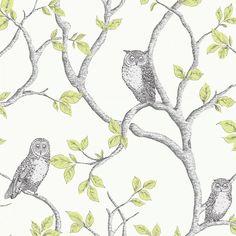 Fine Decor Woodland Owls Green / Grey / Cream (FD40637) - Fine Decor from I love wallpaper UK