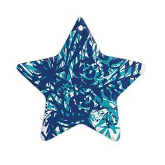 """Patternmuse """"Inky Floral Navy"""" Blue Teal Painting Ceramic Star Ornament - KESS InHouse  - 1"""