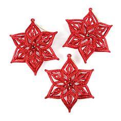 Red Glitter Snowflake & Gem Ornaments, 3-Pack at Big Lots.  #BigLots