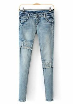 Blue Button Fly Mid Waist Long Denim Jeans
