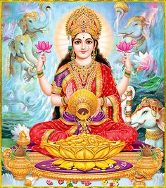 Goddess Lakshmi is called as Shri, the feminine energy of Supreme Being. She is the Goddess of Wealth and Prosperity. Worshipping her is believed to attract good fortune and abundance into one's life. Indian Goddess, Goddess Lakshmi, Divine Mother, Mother Goddess, Lord Ganesha Paintings, Lakshmi Images, Image Hd, Lord Vishnu Wallpapers, Sacred Feminine