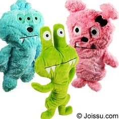 PLUSH MONSTERS. With embroidered features and soft, cuddly bodies, these cuties will delight any stuffed animal collector. Assorted styles and bright colors. Perfect for party favors. Sizes 15 - 16 Inches