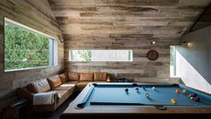 Ström Architects designed this timber-clad annex to house a bar and games room for a home in England& New Forest he completed seven years ago. Tiny House, Wood Store, Architecture Images, Open Plan Living, Architect Design, Cladding, Studio, Game Room, Interior Design