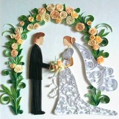 Quilled Bride and Groom - by: Emese Dobos - as seen on the FB group board of the World of Quilling. Neli Quilling, Paper Quilling Cards, Paper Quilling Tutorial, Origami And Quilling, Quilled Paper Art, Quilling Craft, Free Quilling Patterns, Quilling Designs, Wedding Quilling Ideas