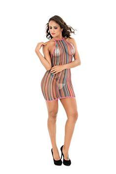 7c9499e8db4 EVAbaby Women Lingerie Rainbow Fishnet Babydoll Sexy Mini Dress Stretch  Halter Chemise Babydoll Lingerie
