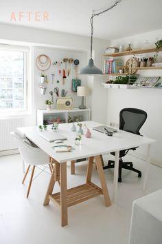 Estúdio para casal utilizando mobiliário como se fosse prancheta e cavalete.