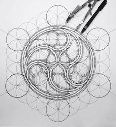 Flower of life- gothic may 2018 (moody birds & clockwork but Sacred Geometry Symbols, Geometry Art, Architecture Drawings, Gothic Architecture, Gothic Flowers, Math Art, Technical Drawing, Mandala Drawing, Flower Of Life