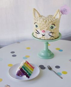 Rainbow Cat Cake Slice - Toddler Birthday Cakes on Craftsy