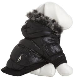 Pet Life Metallic Fashion Parka with Removable Hood in MetallicBlack - Medium -- Click image to review more details.