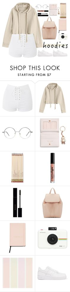 """cozy hoodies"" by izmlr ❤ liked on Polyvore featuring Topshop, Ted Baker, Kate Spade, NYX, Gucci, Mansur Gavriel, MANGO, Polaroid, NIKE and Hoodies"
