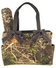Brown Camo Tote Purse Diaper Bag Soft Velvety Feel w/ Changing Pad Camouflage