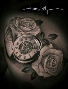 beautiful skull tattoos for women Large Tattoos, Trendy Tattoos, Tattoos For Women, Time Piece Tattoo, Pieces Tattoo, Pocket Watch Tattoos, Pocket Watch Tattoo Design, Skull Tattoos, Sleeve Tattoos