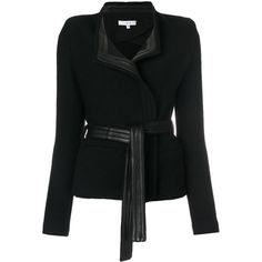 Iro leather trim blazer ($593) ❤ liked on Polyvore featuring outerwear, jackets, blazers, jacket's, black, leather blazer jacket, real leather jackets, genuine leather jacket, blazer jacket and 100 leather jacket