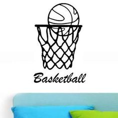 Basketball Net with Basketball Text Name Wall Decal Sticker