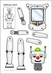 Use with Robot Repair Shop Elevate Curriculum - Split-pin robot characters - SparkleBox Paper Robot, Paper Toys, Paper Crafts, Paper Paper, Nono Le Petit Robot, Robot Theme, Robot Parts, Robots Characters, Paper Puppets