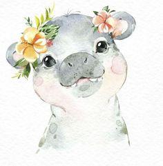 Baby Hippo, Baby Animals, Cute Animals, Safari Animals, Baby Animal Drawings, Cute Drawings, Nursery Prints, Nursery Art, Jungle Nursery